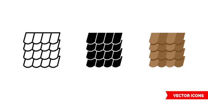 Roof shingles icon of 3 types color, black and white, outline. Isolated vector sign symbol.