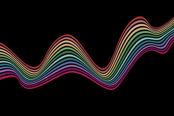 Abstract element with wavy, curved lines. Vector illustration of multicolored stripes with optical illusion