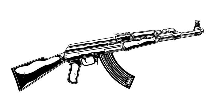 Vintage monochrome detailed illustration of kalashnikov assault rifle. Isolated vector template