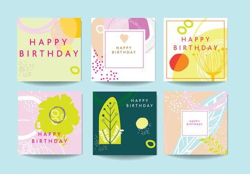 Scandinavian art and graphic design inspired happy birthday cards