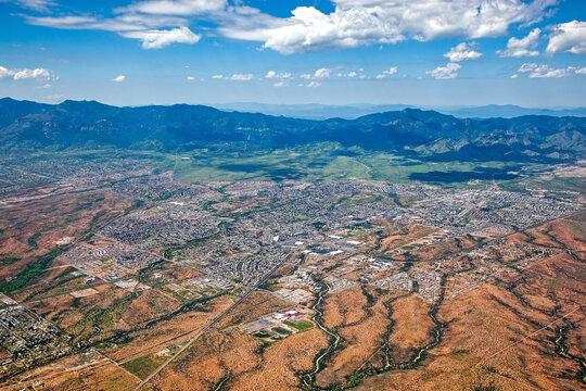 Aerial view of Sierra Vista, Arizona on a summer day in 2013