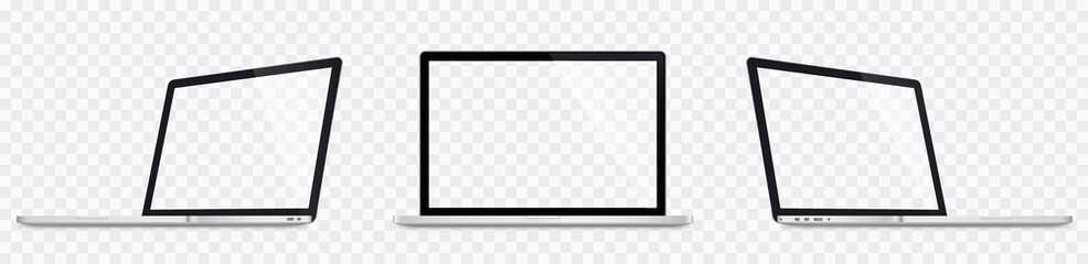 Realistic laptop set. 3D Laptops mockup. Blank screen isolated on transparent background - stock vector.
