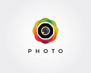 minimal photo lens  logo template - vector illustration