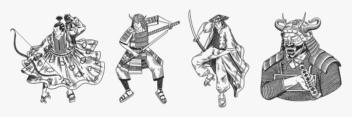 Japanese samurai set. Warriors with weapons sketch. Men in a fight pose. Hand drawn vintage sketches. Vector illustration in monochrome style.