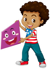 Boy holding geometric shape