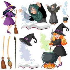 Set of wizard or witches and tools cartoon style isolated on white background