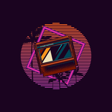 Original vector illustration in retro neon style of the 80's. 8-bit console game cartridge on a background of palm trees and neon sunset.