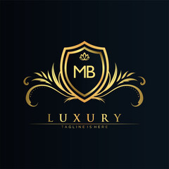 MB Letter Initial with Royal Template.elegant with crown logo vector, Creative Lettering Logo Vector Illustration.