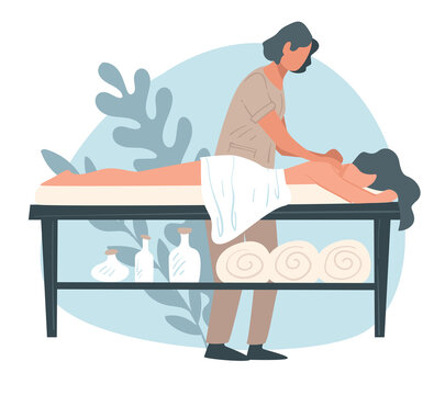 Back massage at spa center or salon, professional care