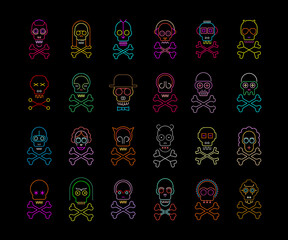 Neon colors isolated on a black background Skull and Crossbones vector icon set. Large bundle of unique design elements, each icon is on a separate layer.