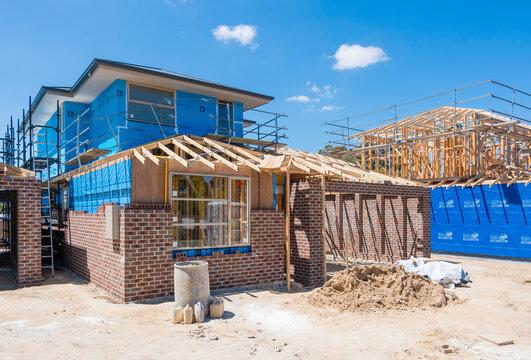 Melbourne, Australia - Nov 15, 2015: Houses under construction in a suburb in Melbourne, Australia