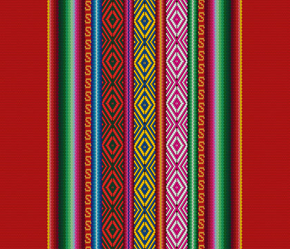 Blanket stripes seamless vector pattern. Background with ethnic american fabric pattern with colorful stripes. Serape design
