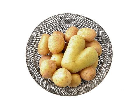 Potatoes in basket isolated on white background. Potato heart, I love potatoes....