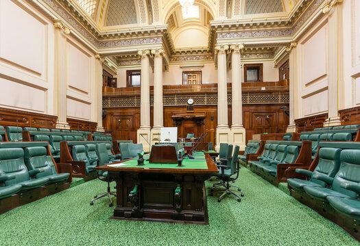 Melbourne, Australia - Aug 28, 2015: Meeting room inside Parliament House in Melbourne, Australia