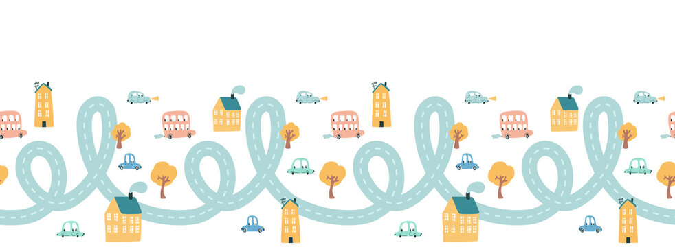 Cute city with cars seamless border