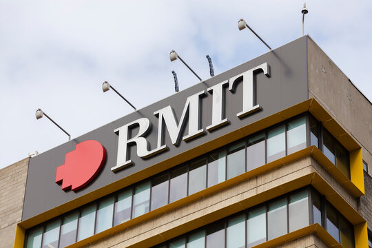 Melbourne, Australia - August 9, 2015: View of the sign of RMIT University in Melbourne, Australia. It is an Australian public university of technology and design.
