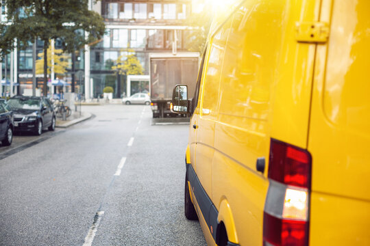 Delivery van on a street inside a city