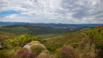 Panorama view of Trabada lanscape in Galicia