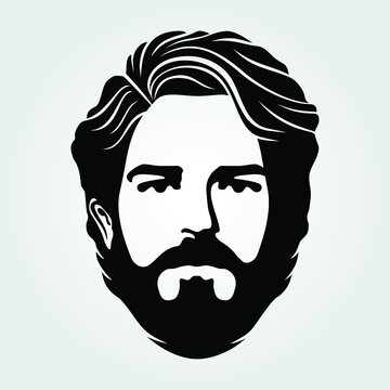 Bearded men, hipster face icon isolated. Vector illustration.