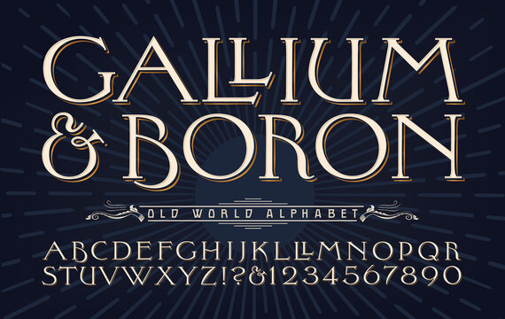 Gallium & Boron elemental typography alphabet. Elegant wide old-style capital font with subtle flourishes and details.