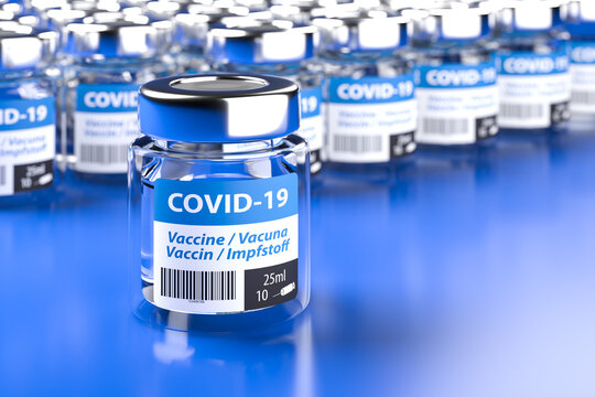 Concept for availability of enough vaccine against Covid-19: Bottles of vaccination. The word vaccination in English, Spanish, French and German on the label