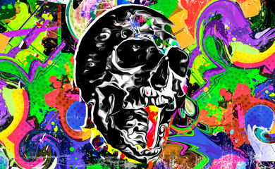 abstract colored artistic skull, graphic design concept