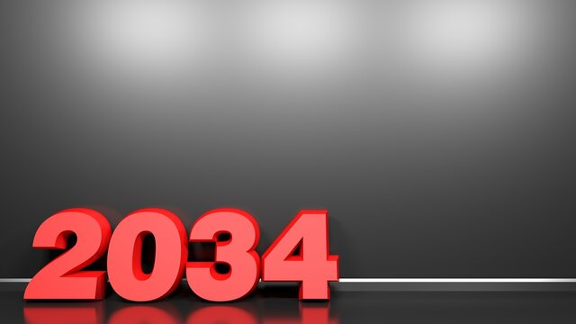 2034 red write at black glossy wall background - 3D rendering illustration