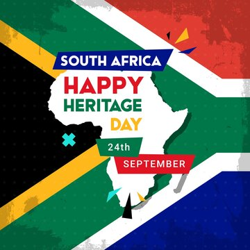 Happy South Africa Heritage Day - 24 September - square banner template with the South African flag as the background and African continent. Celebrating and honoring African culture and traditions