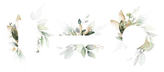 Fototapeta  Watercolor invitation Card design with leaves. background with floral elements , botanic watercolor illustration. Vintage Template. Herbal frame obraz