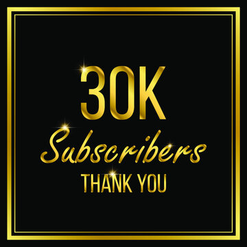 Thirty thousand or 30000 followers or subscribers achievement symbol design, vector illustration.