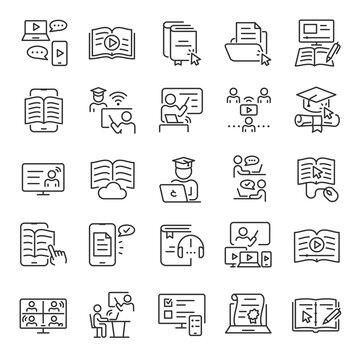 Online education, e-learning, icon set. Distance learning program, linear icons. Communication with the teacher at a distance. Line with editable stroke