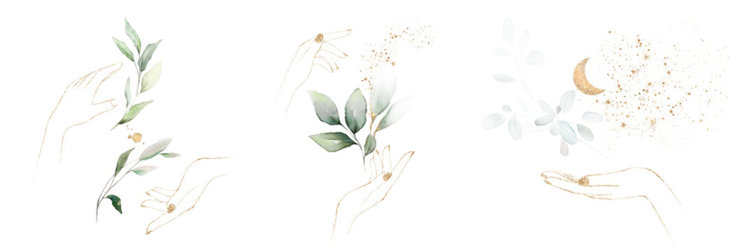 Watercolor design with leaves and hands. botanic watercolor illustration.