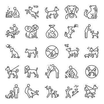 Dog walking, icon set. Dog on a leash with the owner, linear icons. Clean up after your dog. Playing with a pet. Line with editable stroke