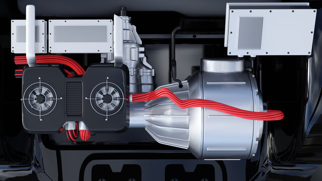 Unter der Motorhaube eines Elektroautos