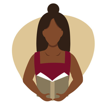 Vector flat illustration of a black woman reading a book. Education, training, book lovers club infographics, central illustration. An African American woman holds a book in a flat style