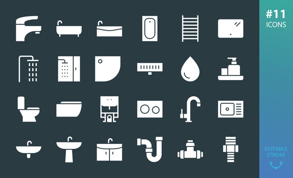 Sanitary ware solid icon set. Set of bathroom, bath, faucet, toilet, shower, sink, washbasin, water trap, shower drain, heated towel rail, bathtub, pipes, plumbing pipes and fittings glyphs icons
