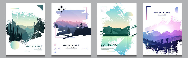 Obraz Vector brochure cards set. Travel concept of discovering, exploring and observing nature. Hiking. Adventure tourism. Flat design template of flyer, magazine, book cover, banner, invitation, poster. - fototapety do salonu