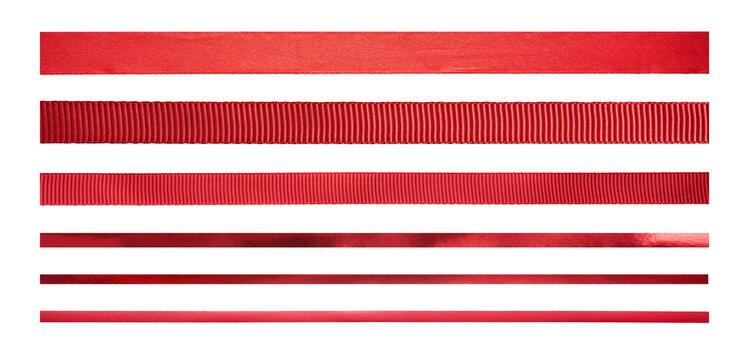 A set of straight red ribbons of different sizes and designs for Christmas and valentines day present wrapping isolated against a white background