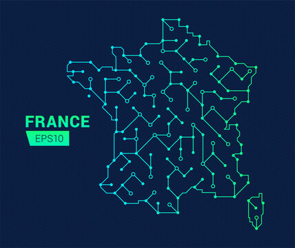 Abstract futuristic map of France. Electric circuit of the country. Technology background.