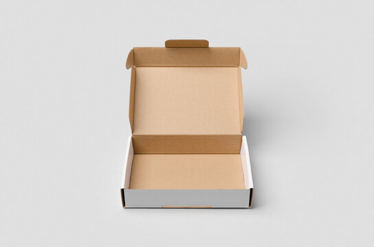 Cardboard postal, mailing box mockup with opened lid.