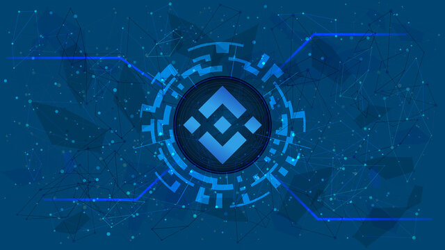 Binance Coin token symbol, BNB coin icon, in a digital circle with a cryptocurrency theme on a blue background. Digital gold in futuristic style for website or banner. Copy space. Vector EPS10.