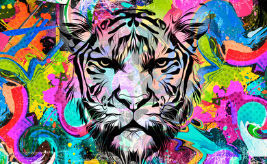 Tiger head with creative abstract element on white background