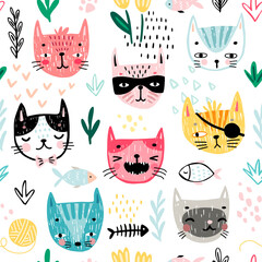 Wall Mural - Seamless pattern with Cute kittens. Childish characters with different emotions - joy, anger, happines and others. Vector illustration.