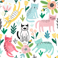 Wall Mural - Seamless pattern with Cute kittens. Childish characters with different emotions - joy, anger, happines and others.