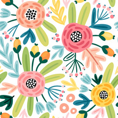 Wall Mural - Seamless flourish pattern with flowers, plants and other elements. Cute hand drawn background.