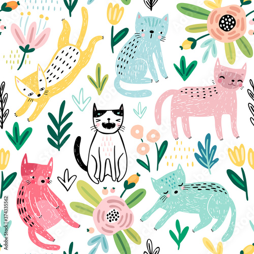 Wall mural Seamless pattern with Cute kittens. Childish characters with different emotions - joy, anger, happines and others.