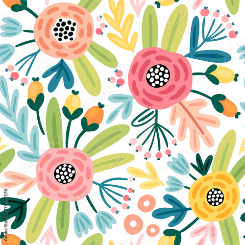 Wall mural Seamless flourish pattern with flowers, plants and other elements. Cute hand drawn background.