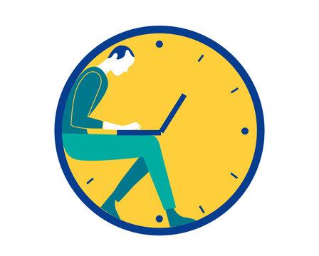 Un uomo lavoro al computer portatile dentro un orologio