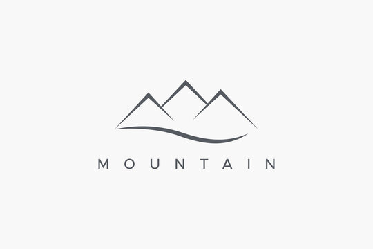 Abstract Mountain Logo with River Wave isolated on White Background. Flat Vector Logo Design Template Element