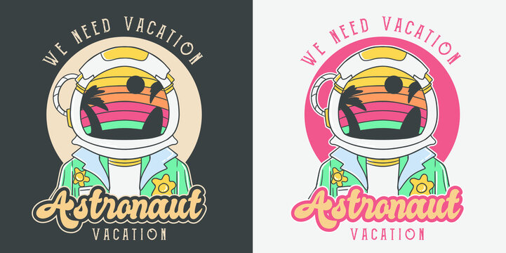 Astronaut retro summer vacation illustration